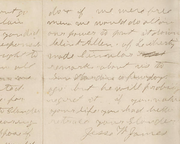 """JAMES, JESSE. Autograph Letter Signed (""""Jesse W. James""""), to Mr. Flood demanding Flood  retract spurious accusations of James being a horse thief, specifically """"go to my Mother & explain why you sed what you did,"""" 3 pp, June 5, 1875"""
