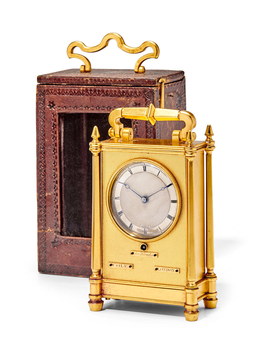 A fine and rare gilt miniature carriage timepiece with original fitted leather traveling caseSigned by James Ferguson Cole, London Mid 19th century