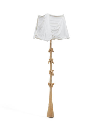 Salvador Dalí (1904-1989) Lampara Muletasdesigned 1937produced by Barcelona Design, limed wood, linenheight 72 1/2in (184.1cm); width of shade 18in (45.7cm); depth of shade 18 1/4in (46.3cm)