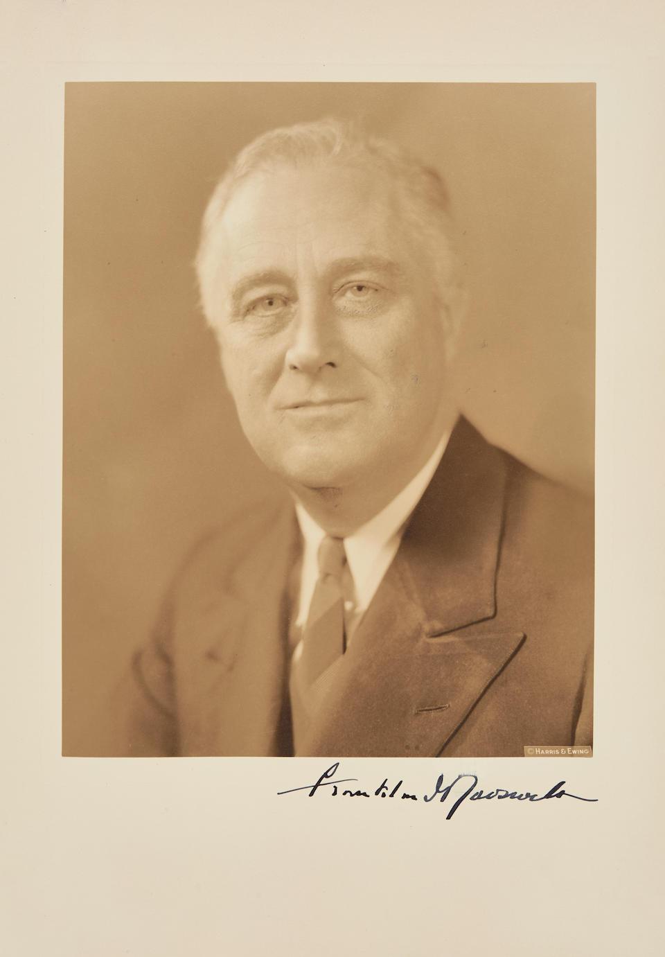 """ROOSEVELT, FRANKLIN DELANO. 1882-1945. Photograph Signed (""""Franklin D. Roosevelt""""),"""