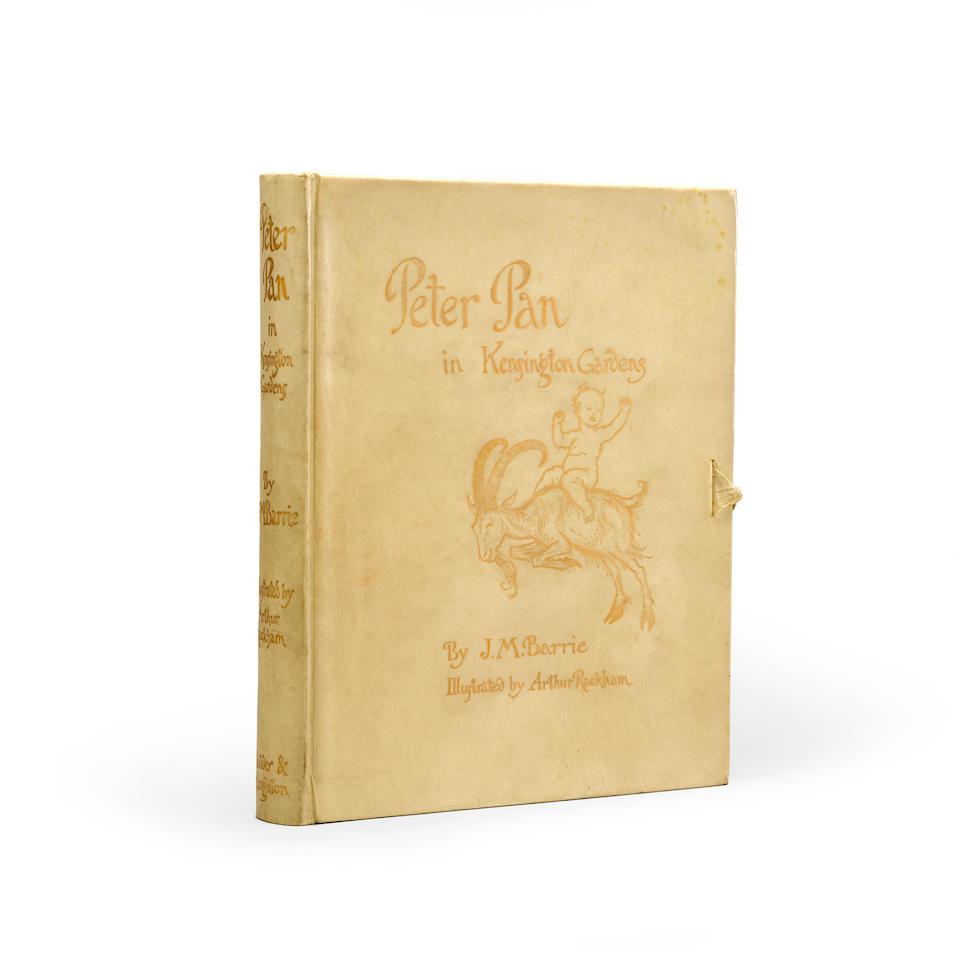 RACKHAM, ARTHUR. 1867-1939. BARRIE, JAMES MATTHEW. 1860-1937. Peter Pan in Kensington Gardens. London: Hodder & Stoughton, 1906.
