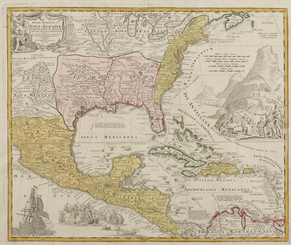 Homann, Johann Baptist. 1633-1724. Regni mexicani sue Novae Hispaniae. [Nuremberg: c.1725.]