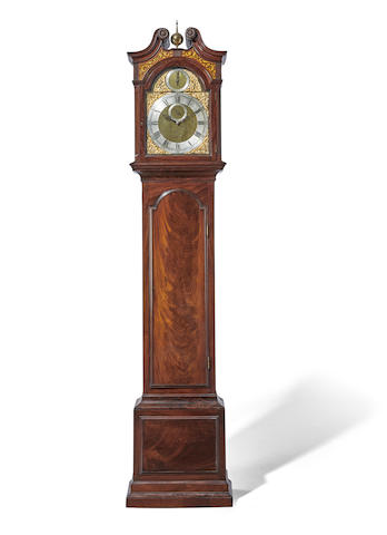 An unusual mahogany quarter striking domestic regulator with gridiron pendulumSigned John Shelton, London, incorporating 18th century elements