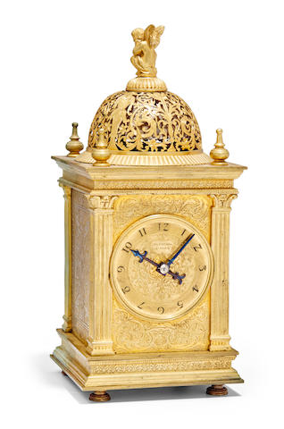An engraved gilt Renaissance style small striking tower clock with alarmSigned Planchon à Paris, no. 4376 Late 19th century