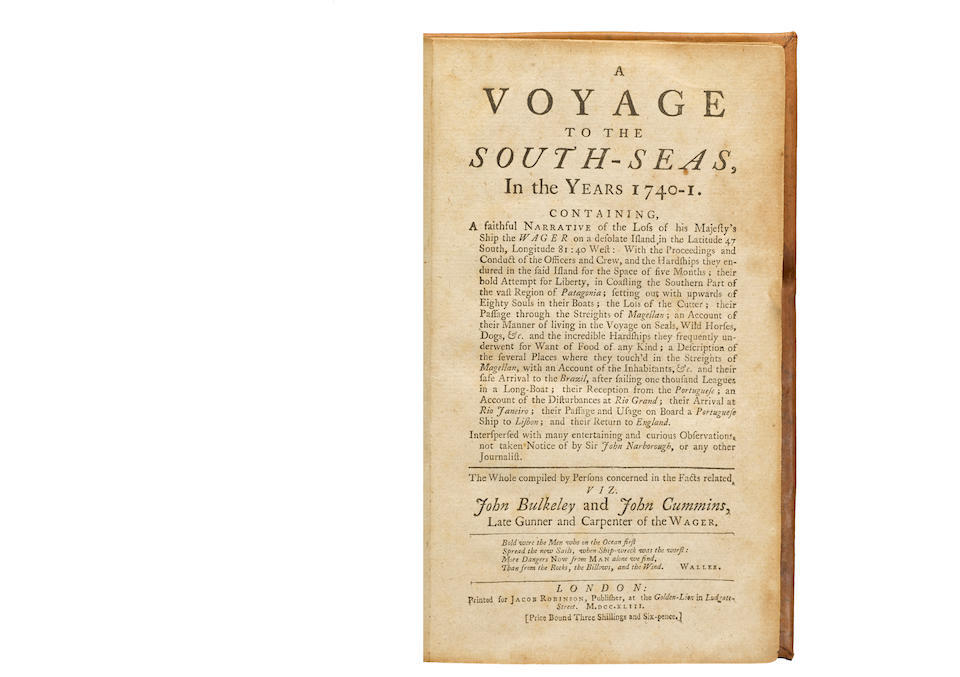 BULKELEY, JOHN; and JOHN CUMMINS. A Voyage to the South Seas, in the Years 1740-1. London: for Jacob Robinson, 1743.