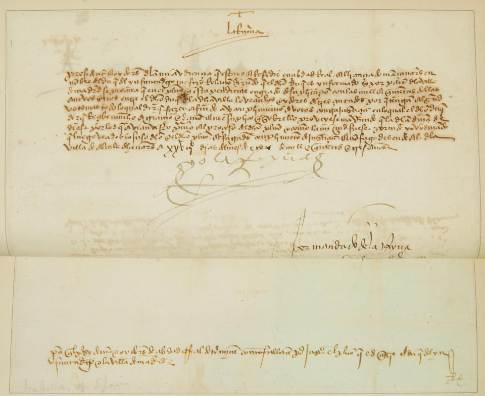 "FERDINAND II. 1452-1516; AND ISABELLA I OF SPAIN. 1451-1504. Letter Signed (""Yo el Rey"") from Ferdinand II advising Captain Don Juan de Silva"