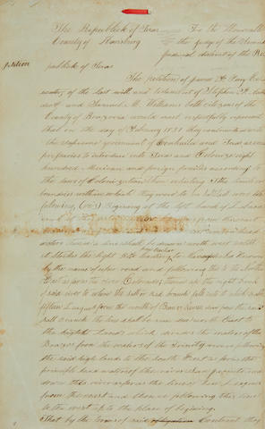TEXAS: STEPHEN F. AUSTIN ESTATE LAWSUIT. [PERRY, JAMES FRANKLIN. 1790-1853.] Archive of legal documents related to the case of James Franklin Perry, administrator of the Estate of Stephen F. Austin, against Sam Houston and the Republic of Texas (Houston v. Perry & Williams),