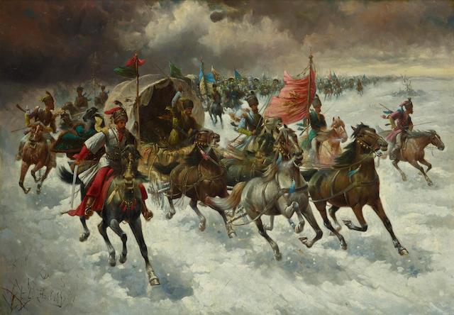 Adolf (Constantin) Baumgartner-Stoiloff (German/Austrian, 1850-1924) A caravan of Cossacks 25 3/4 x 36 1/2in (65.4 x 92.8cm)