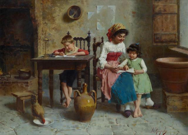 Eugenio Zampighi (Italian, 1859-1944) Tempo di studiare 22 1/8 x 30 3/8in (56.2 x 77.2cm)
