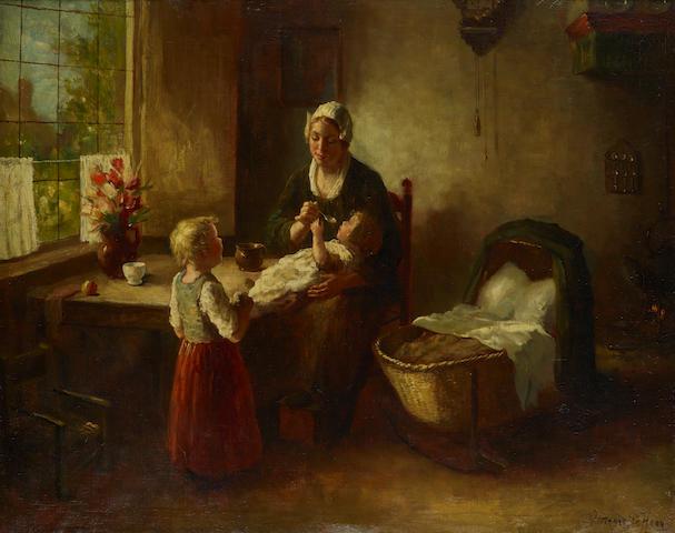 Bernard De Hoog (Dutch, 1867-1943) The morning meal 31 5/8 x 39 1/2in (80.3 x 100.3cm)