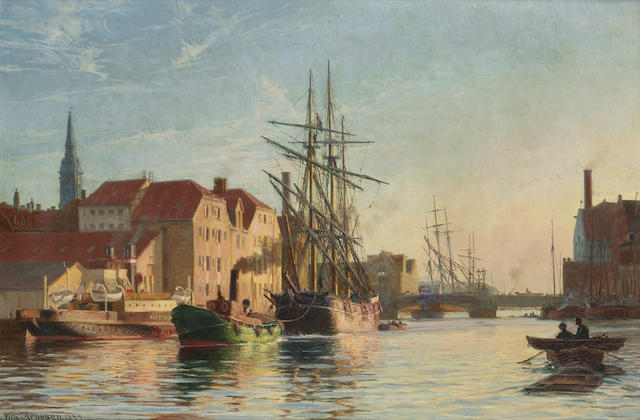 Vilhelm Karl Ferdinand Arnesen (Danish, 1865-1948) Copenhagen harbor 19 x 28 1/4in (48.3 x 71.8cm)