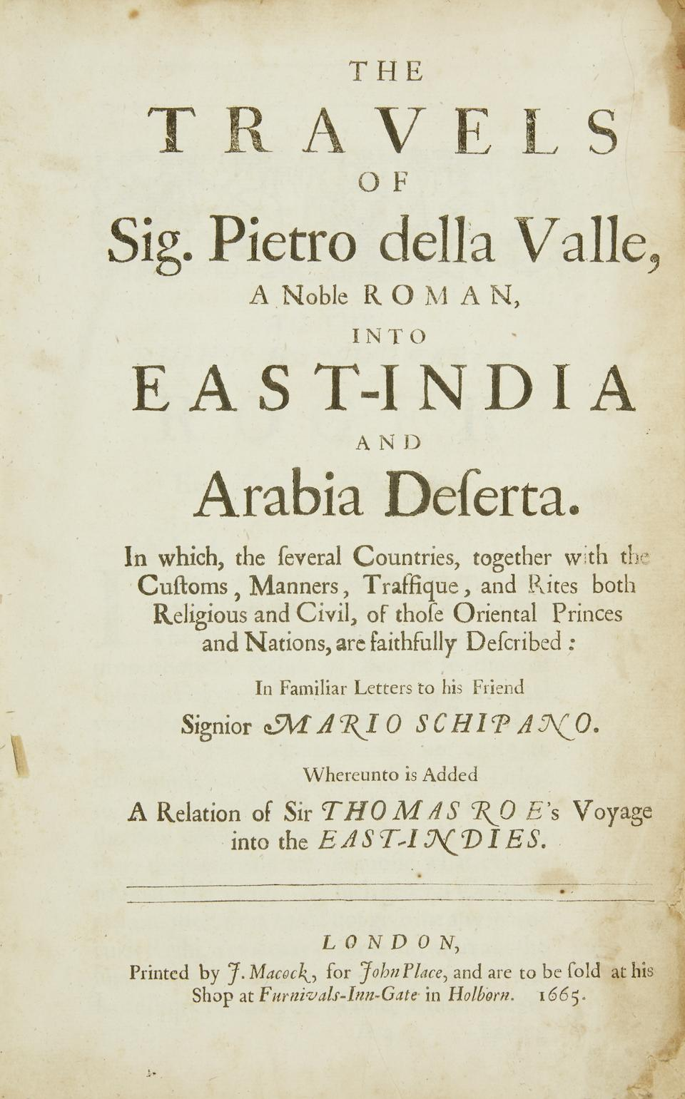 HERBERT, THOMAS. 1606-1682. Some Yeares Travels into Africa, Asia, the great, especially Describing the Famous Empires of Persia and Industan.  London: [Printed by R. Everingham, for R. Scot, T. Basset, J. Wright, and R. Chiswell], 1677.