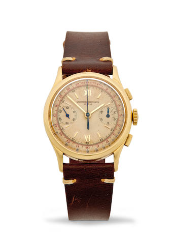 Vacheron Constantin, A Gold Chronograph Wristwatch with Subsidiary Dials and 30-Minute Register, Ref. 4072, No. 302556