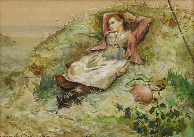 Daniel Ridgway Knight (1839-1924) Study of a woman in a field  10 1/2 x 14 3/4in (25.4 x 35.6cm)