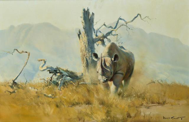 Donald Grant (British, 1930-2001) Rhino, Norogoro crater (Rhino charge) 20 x 30in (50.8 x 76.2cm)