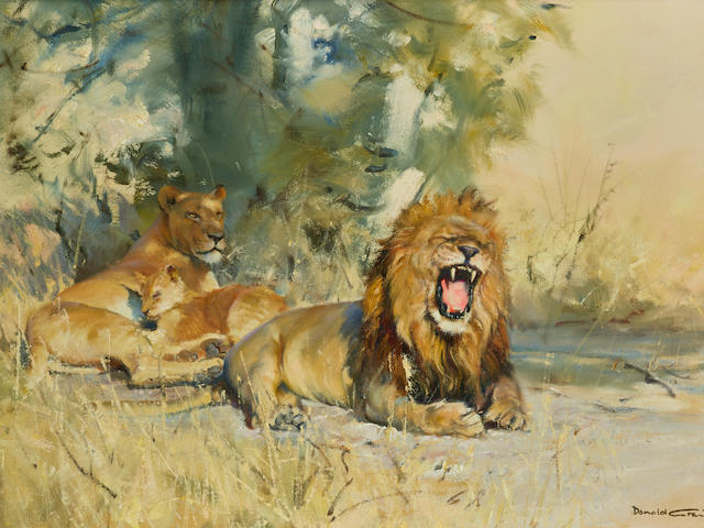 Donald Grant (British, 1930-2001) A pride of lions 20 x 30in (50.8 x 76.2cm)