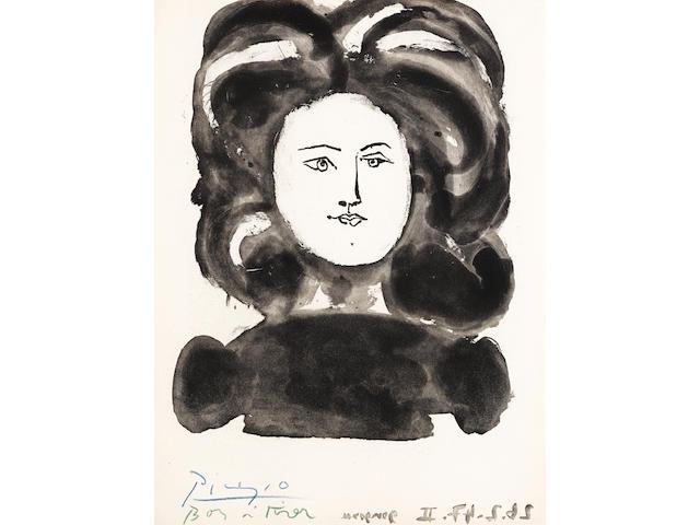 Pablo Picasso (1881-1973); Buste de Femme de Face, from Gongora: Vingt Poèmes;