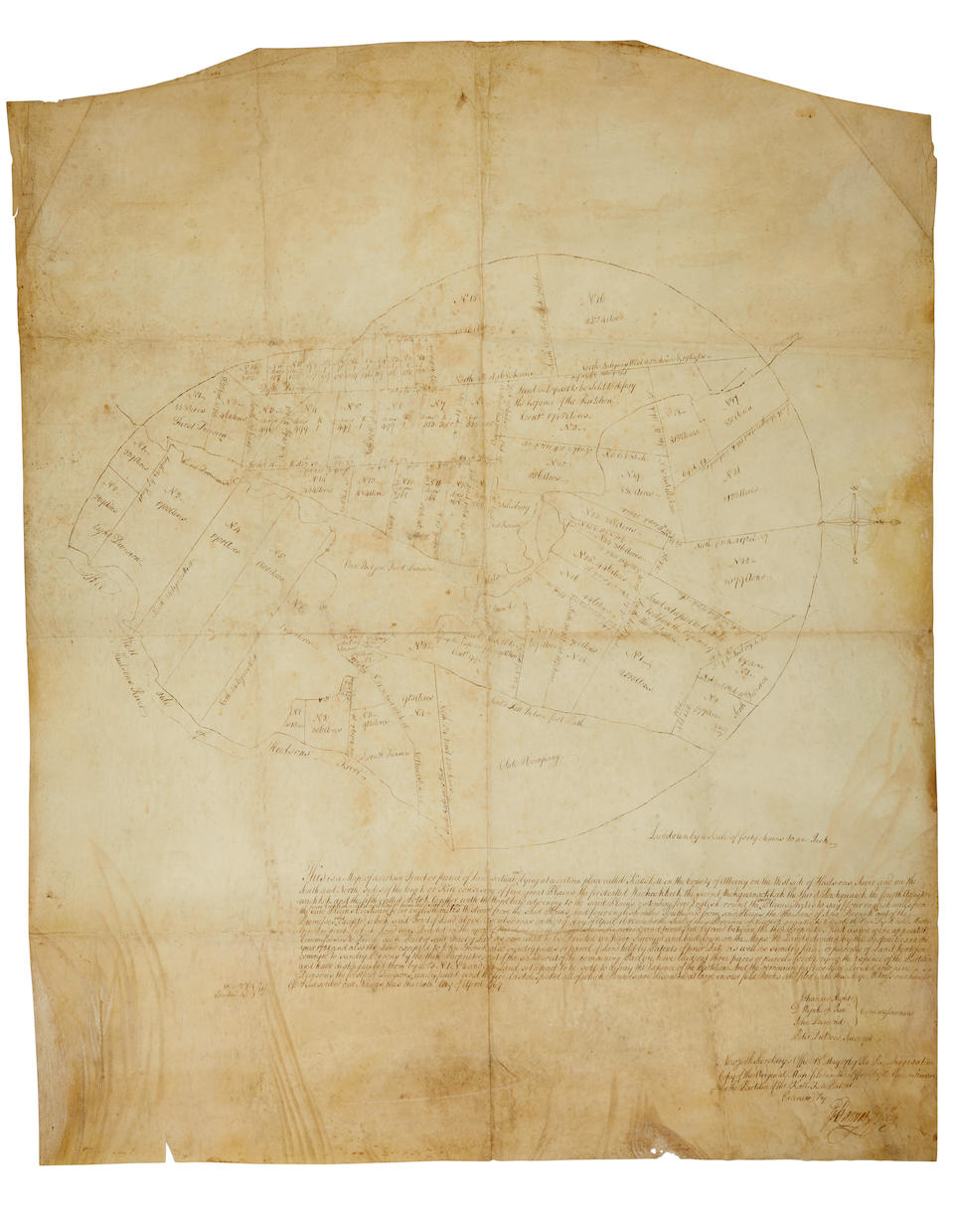 Catskill Creek Land Grant. Commissioners of the KattsKill Patent. This is a map of a certain parcel of land ... lying at a place called Kattskill in the County of Albany on the west side of Hudsons River. New York Secretary's Office 18th May 1769. The preceeding is a true copy of the original mapfiled in this office by the Commissioners for the partition of the KattsKill Patent.