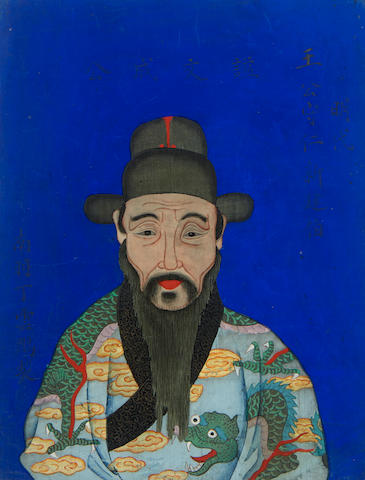 CHINESE PAINTINGS. [Ding Yunpeng, after.] A collection of 6 paintings of high ranking Chinese Officials,