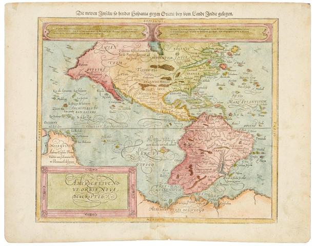 Muenster, Sebastian. 1489-1552. Americae sive novi orbis nova description. [Die newen Inseln so hinder.] [Basel: Sebastian Petri, 1588 or later.]