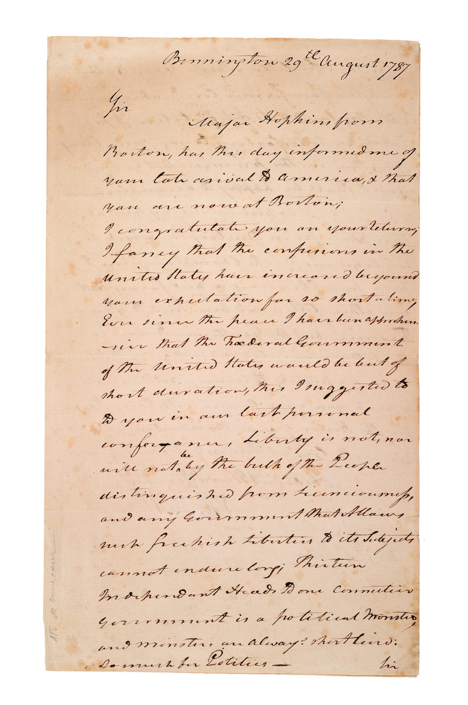 "ALLEN, ETHAN. 1738-1789. Autograph Letter Signed (""Ethan Allen"") to Hector St. John de Crevecoeur, offering astute analysis of the present state of the United States at the moment of the Constitutional Convention,"