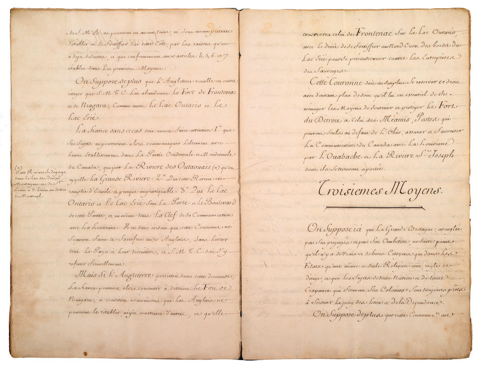 FRENCH INTERESTS IN AMERICA, INCLUDING LOUISIANA. Autograph and manuscript materials relating to French possessions in America: