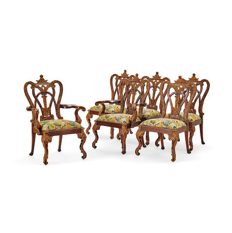 A Set of Eight George II Style Grimsthorpe Castle Mahogany Dining Chairs 20th century