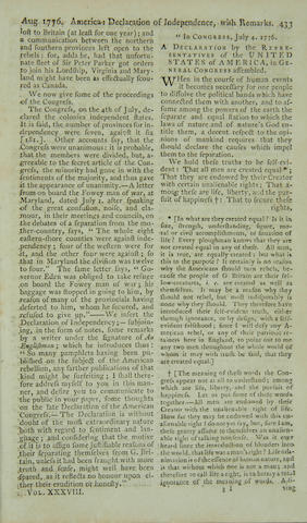 """DECLARATION OF INDEPENDENCE. """"America: Declaration of Independence, with Remarks,"""" in The Scots Magazine. August, 1776."""