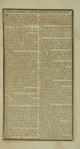 "CONSTITUTION OF THE UNITED STATES AND WASHINGTON'S INAUGURAL ADDRESS. Thomas, Isaiah, Printer. ""Proceedings of the Federal Convention,"" appearing in Thomas's Massachusetts, Connecticut, Rhode-Island, New-Hampshire & Vermont Almanack, With an Ephemeris, for the Year of Our Lord 1788."