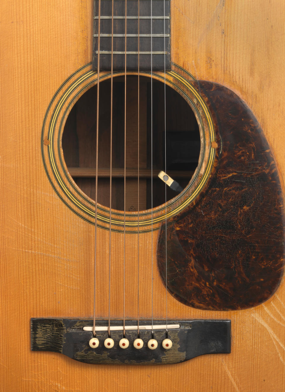 A MARTIN  D-28 ACOUSTIC GUITAR PLAYED BY JERRY GARCIA ON THE FESTIVAL EXPRESS TOUR, CANADA 1970