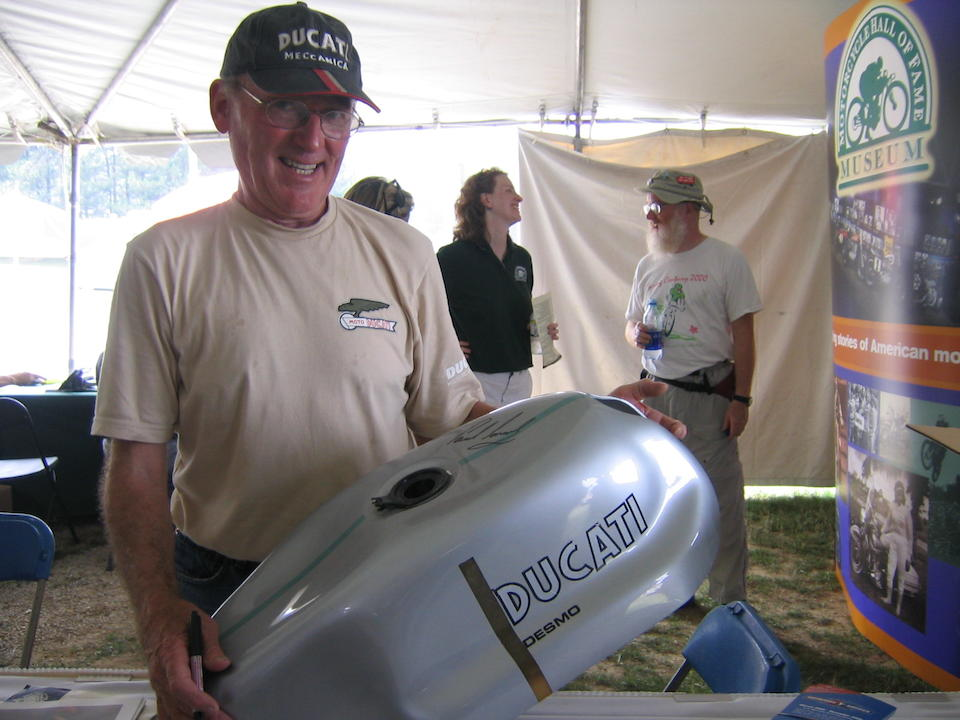 A Ducati 750SS reproduction gas tank signed by Paul Smart