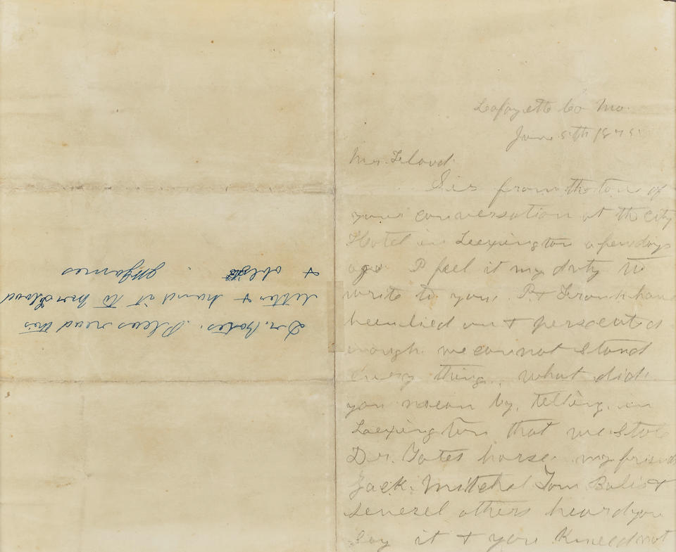 "JAMES, JESSE. 1847-1882. Autograph Letter Signed (""Jesse W. James""), to Mr. Flood demanding Flood retract spurious accusations of James being a horse thief,"