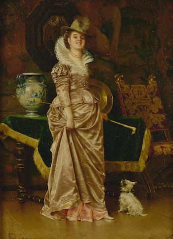 Francesco Vinea (Italian, 1845-1902) Waiting for the master 12 x 8 3/4in (30.5 x 22.3cm)