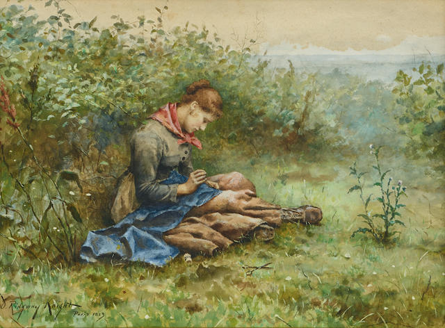 Daniel Ridgway Knight (1839-1924) Study of a woman sewing 10 x 14in (25.4 x 35.6cm)