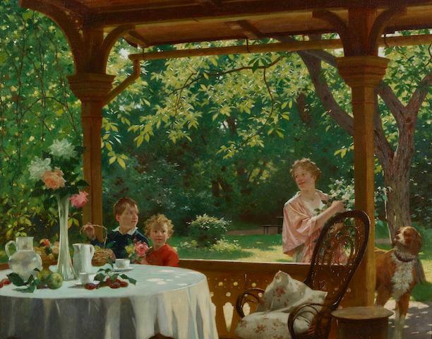 Julius Schmid (Austrian, 1854-1935) Lunch on the terrace 25 1/2 x 32in (64.8 x 81.3cm)