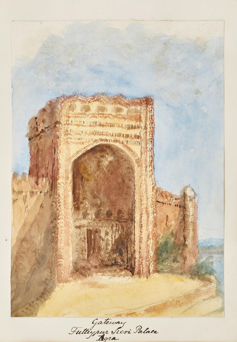 VIEWS AND PORTRAITS OF INDIA IN WATERCOLOR.  An album of 45 original watercolors, on paper by C. Wilbraham,