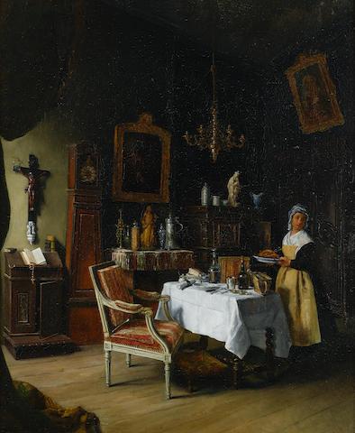 Jean-Alphonse Duplessy (French, born 1817) Le déjeuner de M. le Curé 25 7/8 x 21 1/2in (65.7 x 54.6cm)