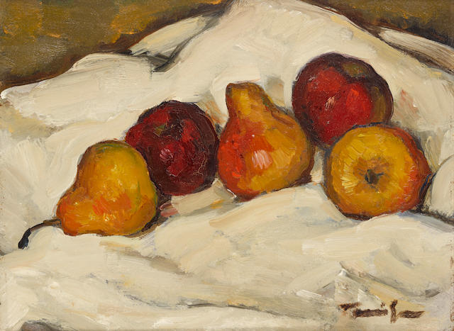 Nicolae Tonitza (Romanian, 1886-1940) A still life with pears 12 x 16in (30.5 x 40.8cm)