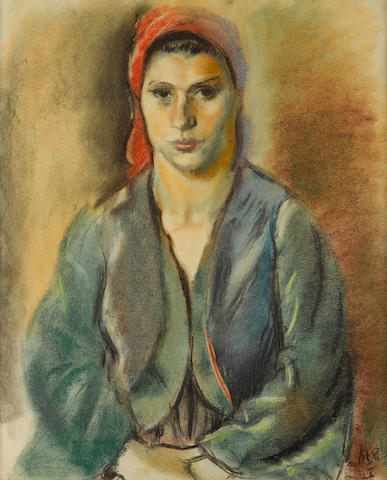 Iosif Iser (Romanian, 1881-1958) A young Turkish woman in a red scarf 23 5/8 x 19 1/8in (60 x 48.5cm)