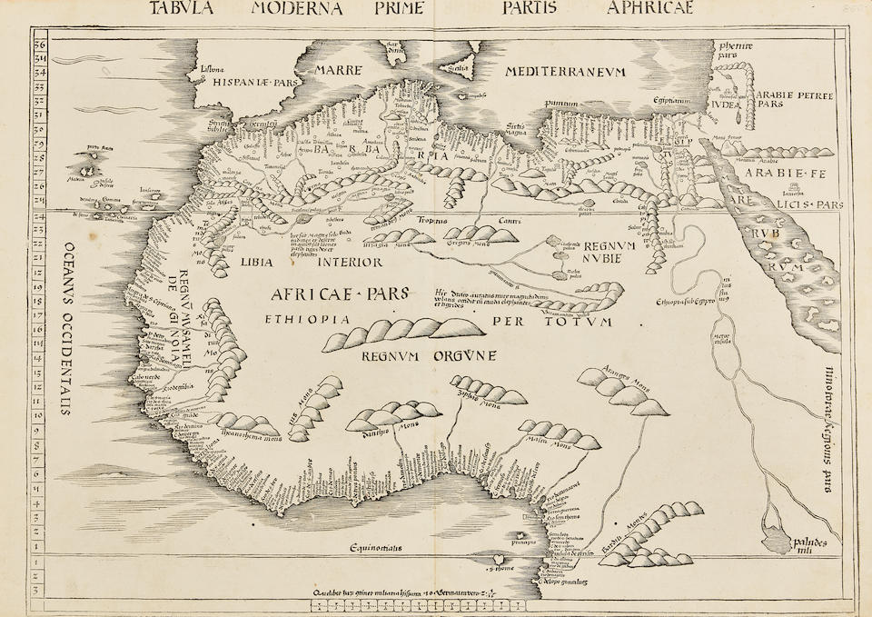 Waldseemueller, Martin  1470-1521. Tabula Moderna Prime Partis Aphricae [Northern Africa]. [Strasbourg: Johannes.Schott, 1513, or 1520].