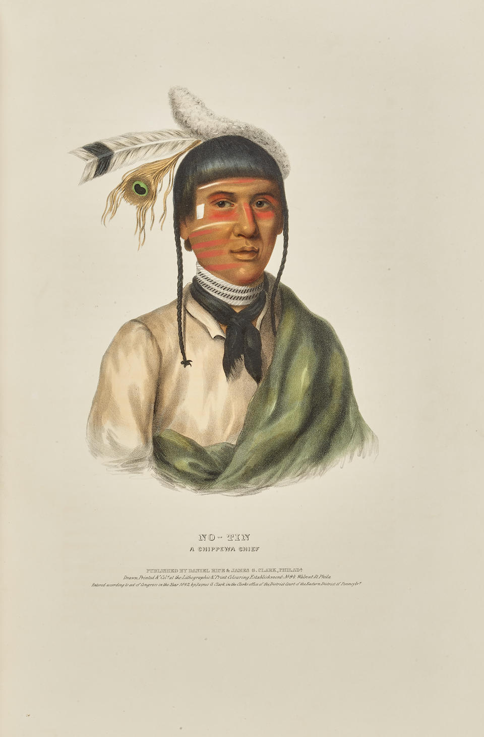 MCKENNEY, THOMAS L. 1785-1859; AND JAMES HALL. 1793-1868. History of the Indian Tribes of North America.  Philadelphia: Frederick W. Greenough; Daniel Rice & James G. Clark, 1838-42-44.