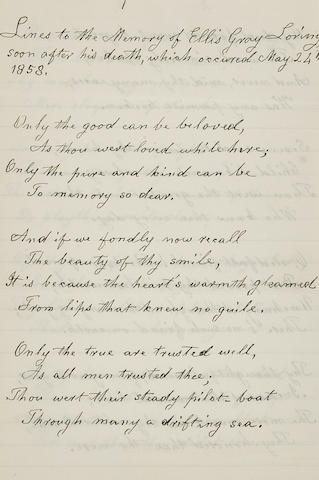 """CHILD, LYDIA MARIA. 1802-1880. 3 Autograph Poems, """"Lines to the Memory of Ellis Gray Loring, soon after his death...,"""" """"Lines Written May 24th, 1865,"""" and """"Lines to L.M. Child, in answer to the proceeding, by John G Whittier,"""""""