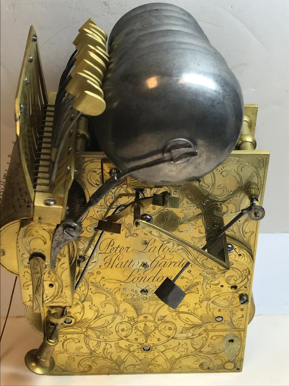 An unusual gilt and patinated bronze small four tune musical table clockSigned Peter La Coste, Hatton Garden, London,  last quarter 18th century