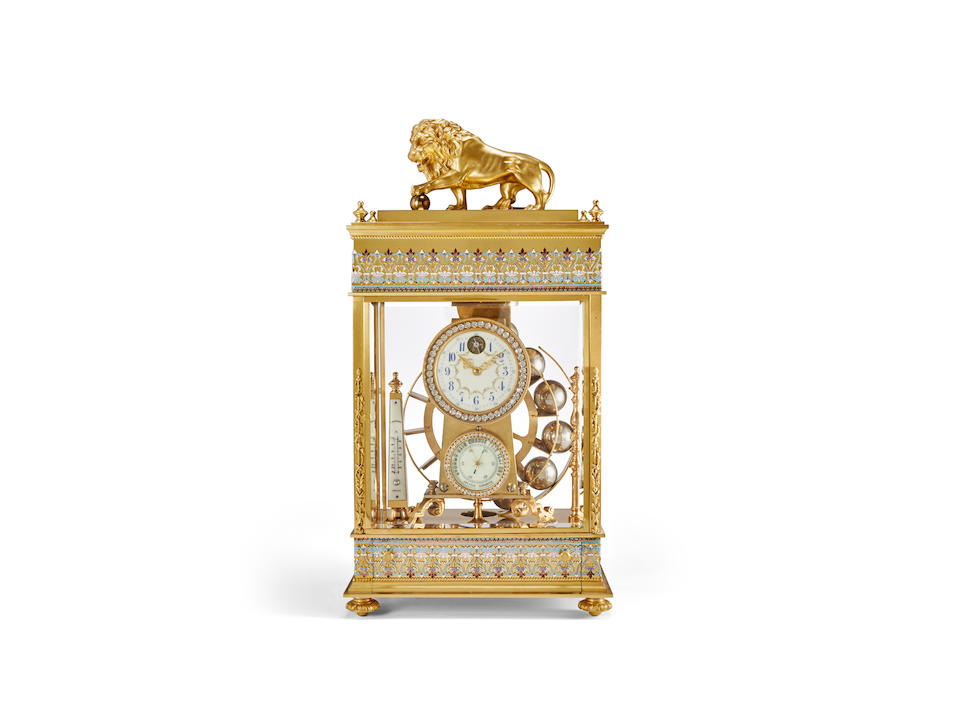 A rare French four glass gilt brass and cloisonné enamel constant force falling ball clock with aneroid barometer and thermometerCirca 1900