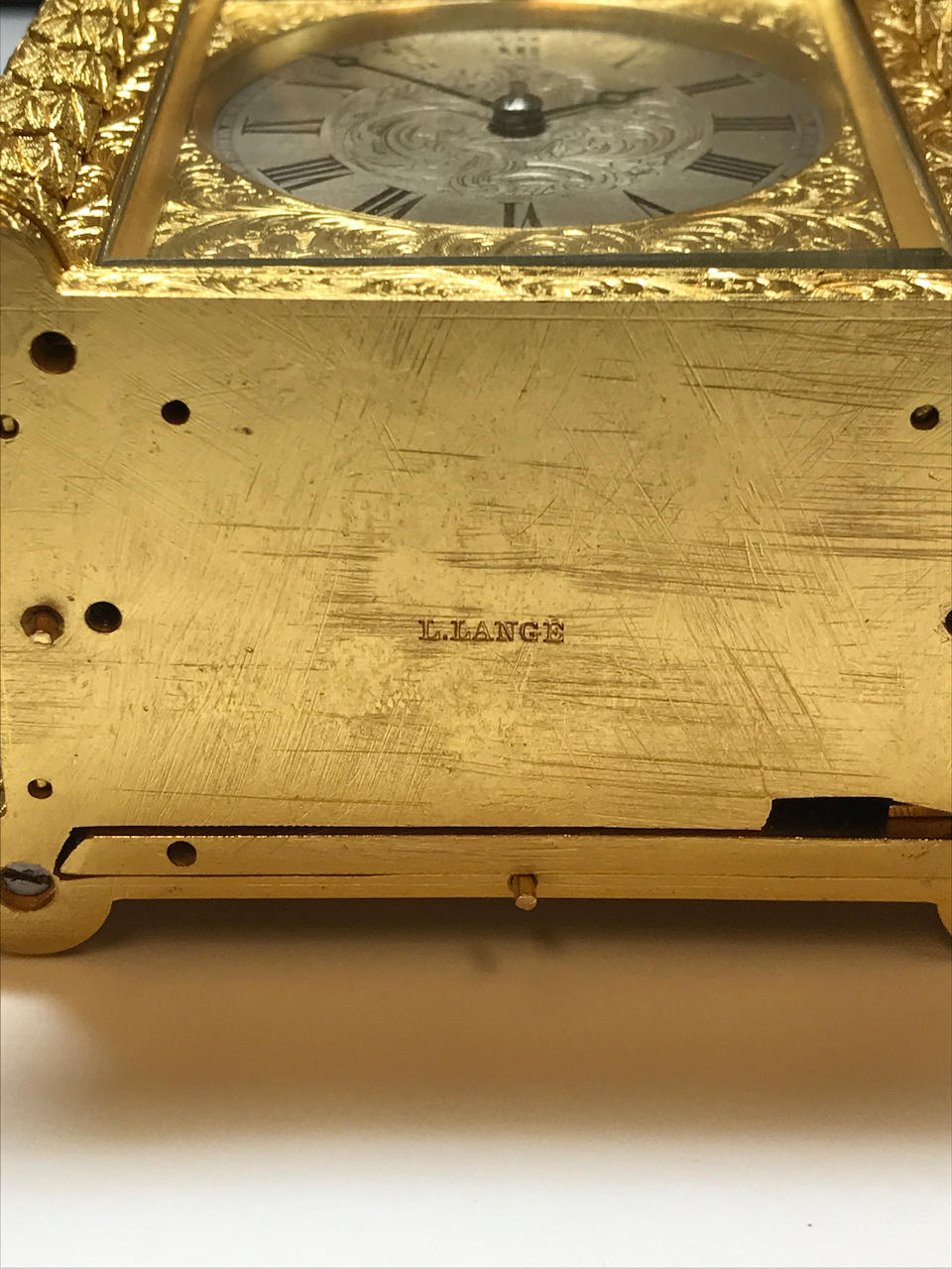 A fine small engraved gilt carriage timepiece Probably by Aubert & Klaftenberger, London, No. 4361, the case signed L. Lange, No. 1098 Mid 19th century