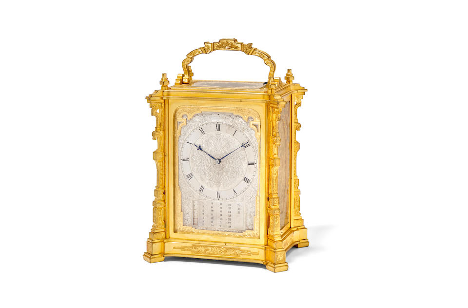 "A fine engraved gilt striking carriage clock with manual calendarSigned ""Made by T. Cole for R & S Garrard, Panton St., Haymarket"" Mid 19th century"