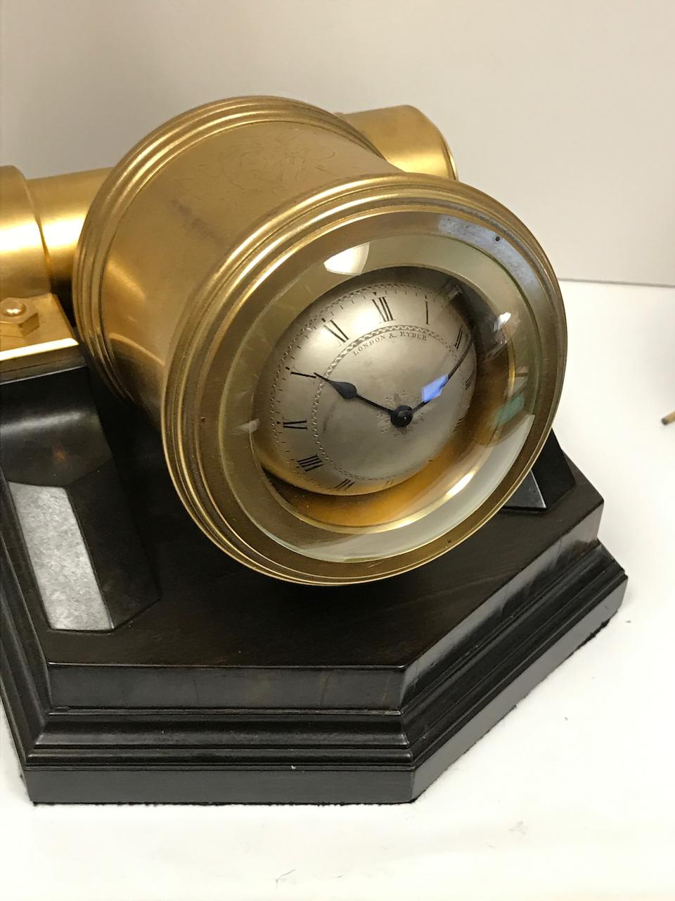 "A fine and rare gilt brass and coromandel ""Mortar"" timepieceThomas Cole, London, no. 1658, retailed by London & Ryder"