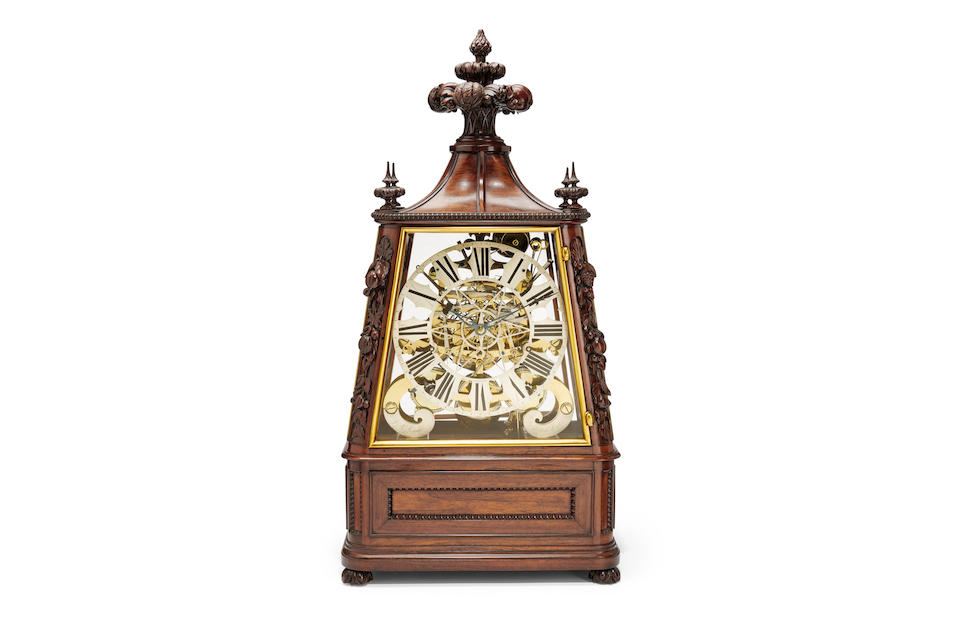 A very fine exhibition quality large triple fusee quarter chiming musical skeleton clock in carved walnut vitrineSigned on the dial, J. F. Cole, London and on the frame, J. R. Losada, 105 Regent Street, London; the musical movement signed, Nicole Frères mid 19th century