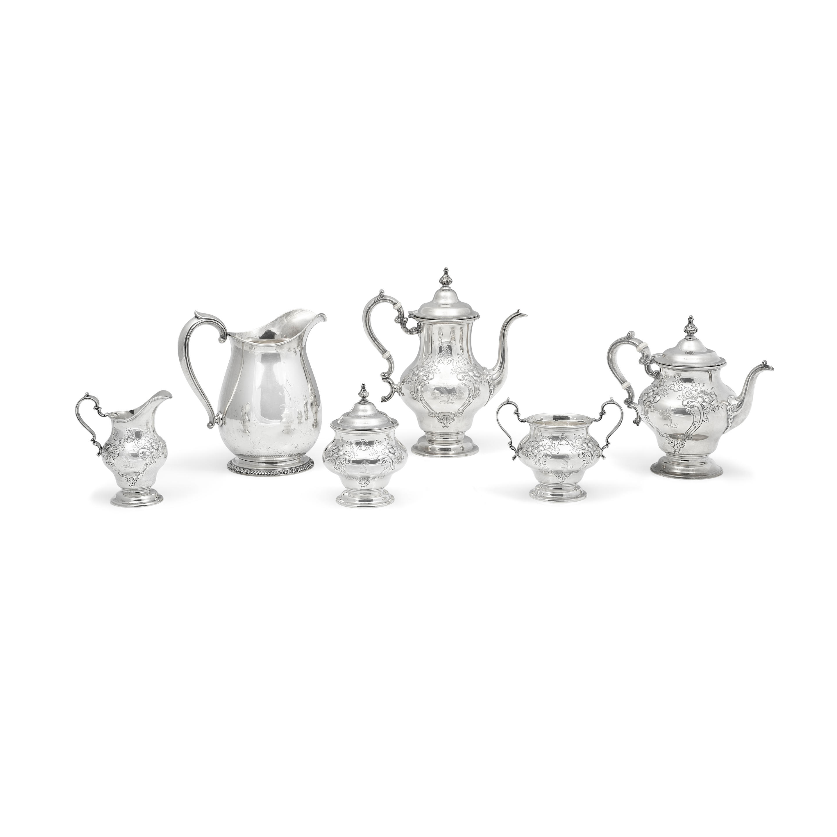 An American sterling silver Five piece tea and coffee service
