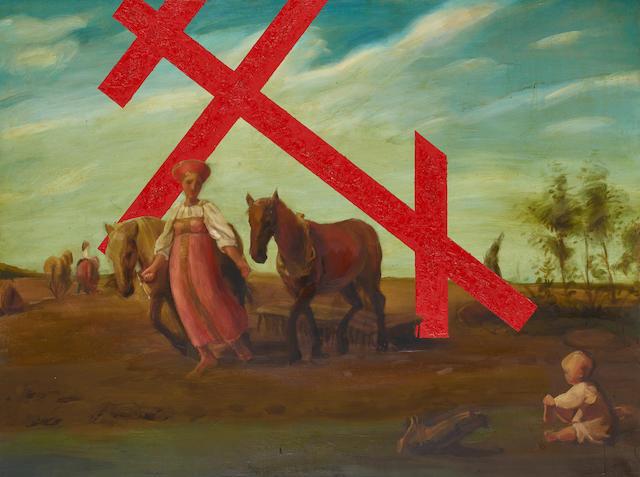 Nikolai Ovchinnikov (Russian, born 1958) 'The shoots of the cross' [Vskhody kresta] 150 x 200cm (59 x 78 3/4in).  unframed